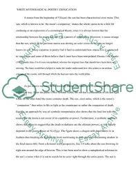 Write Mythological Poetry Explication Essay Example Topics