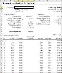 Auto Loan Amortization Schedule Excel Template Download Table With