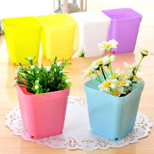 office flower pots. Small Square Plastic Plant Pots Mini Flower Pot Home Office Decor Planter Colorful With Trays Green Artificial In