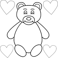 Small Picture Teddy Bear with Four Hearts Coloring Page Mothers Day