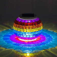 Waterproof Solar Powered Mosaic Lights Color Changing Table