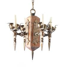 small iron and wood chandelier from belgium