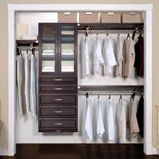 deep woodcrest deluxe closet organizer with 5 drawers and doors