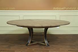 industrial rustic or transitional round to round expandable dining table with leaves