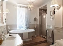 stylish small master bathroom plan with chandelier