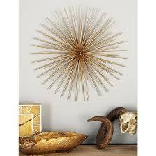 litton lane iron metallic gold round spiked wall decor set of 3