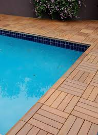 wood patio with pool. SwiftDeck Wood Patio Tiles Right To The Pool Edge With I