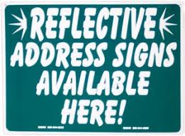 Image result for green reflective address signs