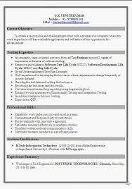 Sample Resume For Software Tester 2 Years Experience Planing