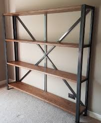 bespoke industrial shelving unit 1800mm high x 2000mm x 300mm deep with 35mm thick solid oak shelves