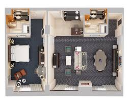 double bed top view. Bedroom Top View. Hospitality Suite - One (1 King Bed) Down Double Bed View I