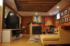 Office:Home Office Idea For The Basement With Shelves Basement Finishing  Ideas Low Ceiling