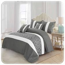 luxury 3 piece faux silk grey and white bedding set