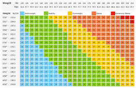 Large Bmi Chart Surprising Gym Height And Weight Chart Body Mass Index Chart