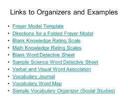 Frayer Model Examples Social Studies Vocabulary Word Maps Template