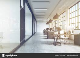 office ceiling lamps. Front View Of An Office Interior With Massive Ceiling Lamps, Ton \u2014 Stock Photo Lamps W