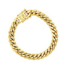cuban link chain bracelet 10mm 18k gold plated snless steel fashion jewelry