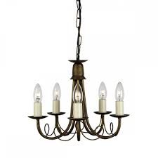 gothic 5 arm chandelier in black and gold