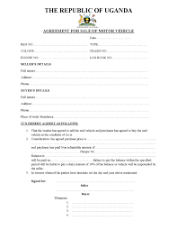 Motor Vehicle Sale Agreement Republic Of Uganda Sample Motor Vehicle Sale Agreement