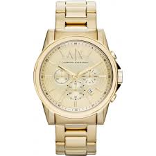 ax2099 armani exchange mens gold plated chronograph dress watch armani exchange ax2099 mens gold plated chronograph dress watch