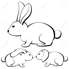 Set Of Outline Rabbits With Different Type Of Ears Vector