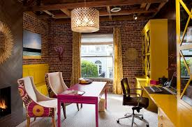 home office artwork. Office Artwork Ideas Home Office Contemporary With Yellow Desk Brick Wall