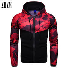 Drop Shipping Fitness Men's Slim Hooded <b>Camouflage Colorblock</b> ...