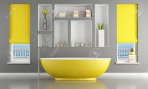 Yellow Bathroom Modern Gray And Yellow Bathroom Rendering The Image On