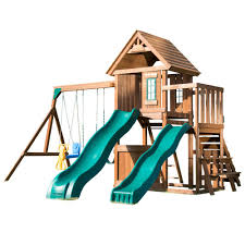 swing n slide playsets knightsbridge deluxe wood complete playset with wood roof and cool