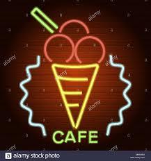 Neon Light Ice Cream Ice Cream Cafe Neon Light Icon Realistic Style Stock Vector