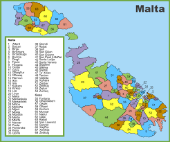 administrative divisions map of malta