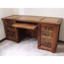 country roads reclaimed wood executive desk in dark walnut
