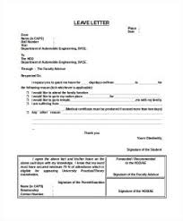 Best Ideas Of 12 Leave Letter Templates Free Sample Example Format