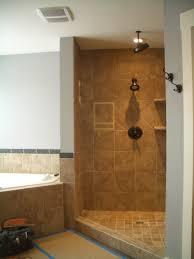 Bathroom, Walk Shower Ideas Corner Gray Wall Paint Shower Head Ceramic  Flooring Tile Corner Shelving