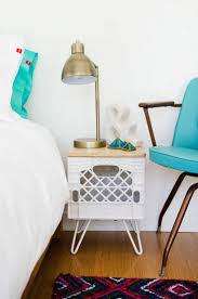 Milk Crate Nightstand. A combination of vintage and modern. #hairpinlegs  #modern #