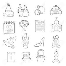 Wedding Icons Set Outline Cartoon Illustration Of 16 Wedding