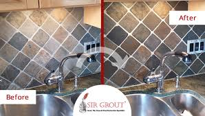 before and after picture of a slate surface cleaning and enhancement service