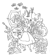 Small Picture in wonderland coloring pages flowers for kids printable free