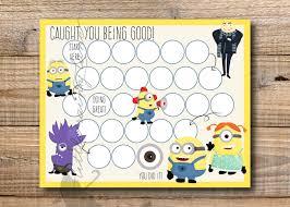 incentive chart kids reward chart minions reward chart printable instant printable