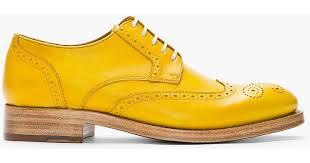 kenzo mustard yellow leather elliott wingtip brogues in metallic for men lyst