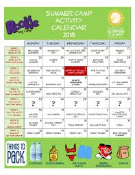 Rookie Activity Calendar 2018 | Summer Camp At The Atlantic Club
