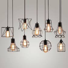 pendant industrial lighting. Pendant Lighting Industrial Vintage Metal Cage Light Hanging Lamp Bulb Fixture New Loft O