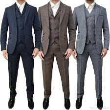 Slim Fit Suits Designer Men Cavani Designer Retro Tweed Herringbone Groom Slim Tailored Fit Suit Groomsman Mens Wedding Prom Suits Latest Coat Pant Vest White Suits White