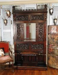 Mirror Coat Rack Antique Carved Walnut Black Forest Hall Tree Umbrella Stand Mirror 92