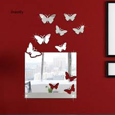 LiveCity <b>7Pcs</b>/<b>Set</b> Square Butterfly <b>Acrylic Mirror</b> Sticker DIY <b>Wall</b> Art ...