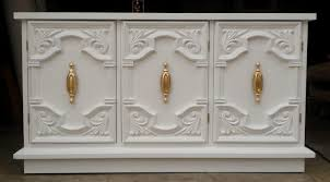 lacquered furniture. White Lacquer Console, And Bright Gold, Gilded Hardware, Vintage Console Lacquered Furniture