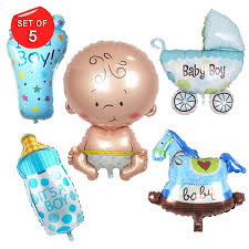 <b>5 Pcs</b> Baby boy Party Balloons <b>14inch</b> Baby Shower Party Foil ...