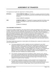 Agreement Of Transfer Template Word Pdf By Business In A Box