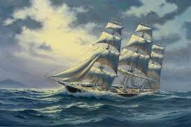 painting of old sailing ships in stormy seas oil painting of clipper ship comet on the high seas