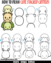 Small Picture Learn How to Draw Cute Cartoon Turtle Hamster Bird Kawaii